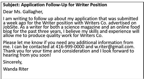 Application Followup Email by How To Write A Follow Up Email For A Application Lscds