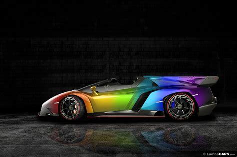 rainbow lamborghini lamborghini veneno roadster rainbow mega wallpapers