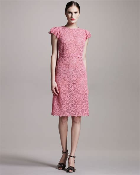 Valentino Lace Sheath Dress in Pink
