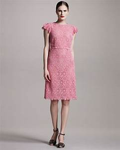 Valentino Lace Sheath Dress in Pink | Lyst