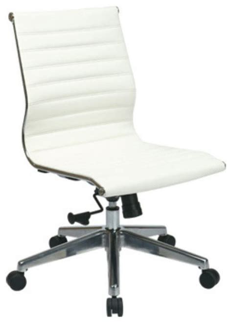 mid back white leather office chair modern office