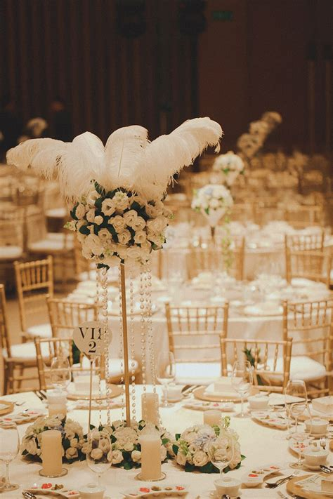White ostrich feather wedding table decor Jamie and