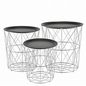 encasar metal basket side coffee couch table set of 3 With metal basket coffee table