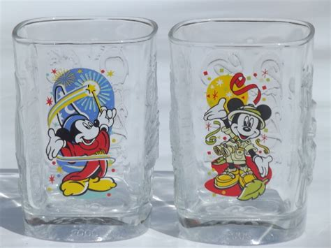 disney mickey mouse collectible mcdonalds glasses