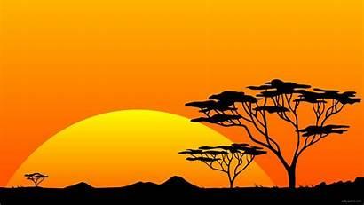 Africa Sunset Yellow Sun Orange African Silhouette