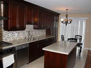Dark Cherry Coloured Custom Kitchen Cabinets with Granite