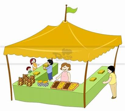 Clipart Market Tent Stall Stand Cartoon Carnival
