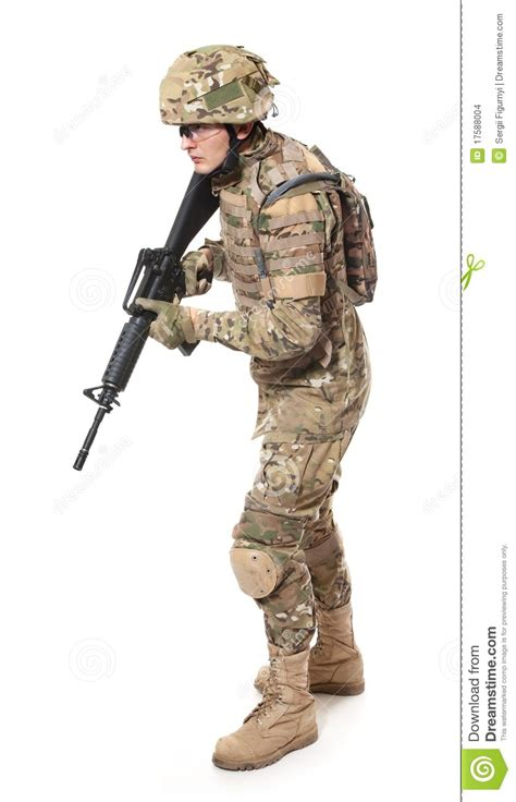 modern soldier  rifle stock photo image  background