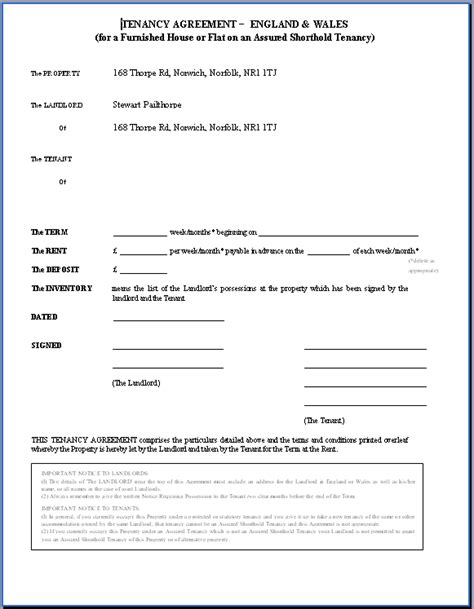 Rental Contract Template Uk printable sle rental agreement doc form real estate