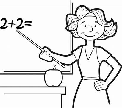 Teacher Coloring Pages Clipart Cartoon Drawing Teaching