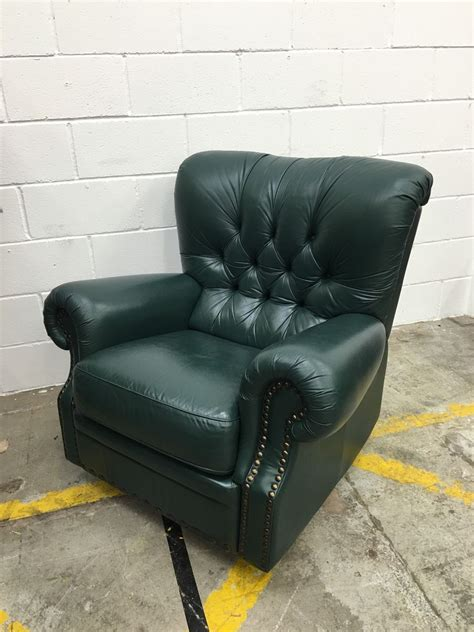 vintage green leather chesterfield recliner chair aherns