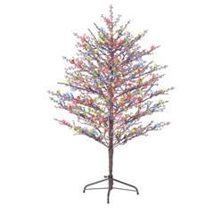 shop ge 5 ft indoor outdoor pre lit winterberry brown artificial tree with 200 count