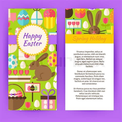 Vertical Flyer Template For Happy Easter Flat Style