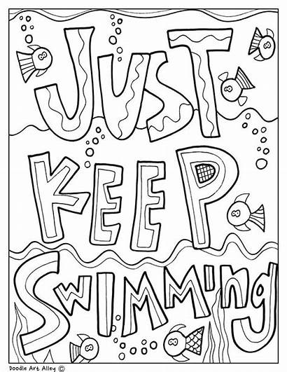 Encouragement Coloring Pages Classroom Doodles Swimming Keep