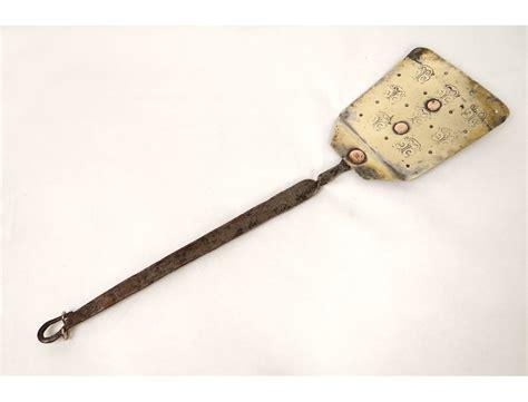 pelle de cuisine cuivre fer forgé fleurs antique copper