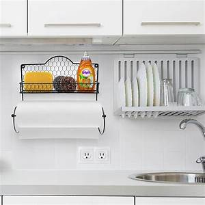 Condiments Cabinet Design Paper Towel Holder Spice Rack And Multi Purpose Shelf Sorbus