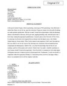 cv resume personal profile exles of work from cv shop