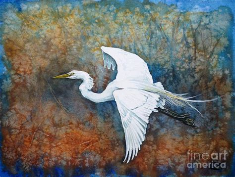 Great Egret Painting By Zaira Dzhaubaeva