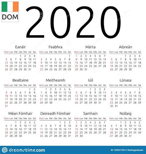 calendar irish sunday stock vector illustration language