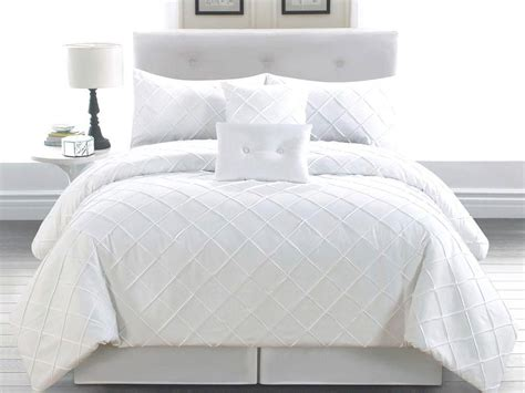 queen comforter set white pc lattice textured elegant