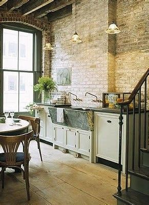 exposed kitchen sink kitchen with exposed brick wall farmhouse sink and a 3629