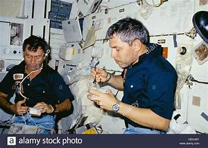 NASA STS-9 mission astronauts John Young (left) and Robert ...