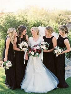 romantic al fresco scottsdale wedding black bridesmaids With wedding dresses in scottsdale