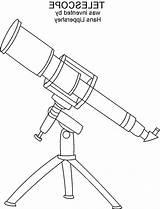 Telescope Coloring Pages Printable Sheets Dari Disimpan sketch template