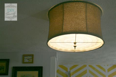 diy ceiling mount drum shade light fixture tutorialdiy