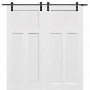 mmi door 60 in x 80 in primed craftsman smooth surface With 60x80 barn door