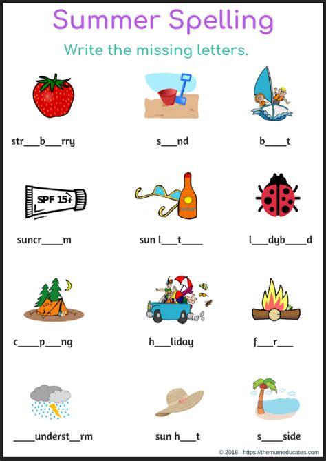 summer spelling missing letters worksheet   mum