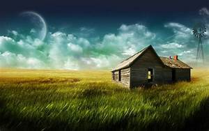 Wooden House In The Field Wallpaper