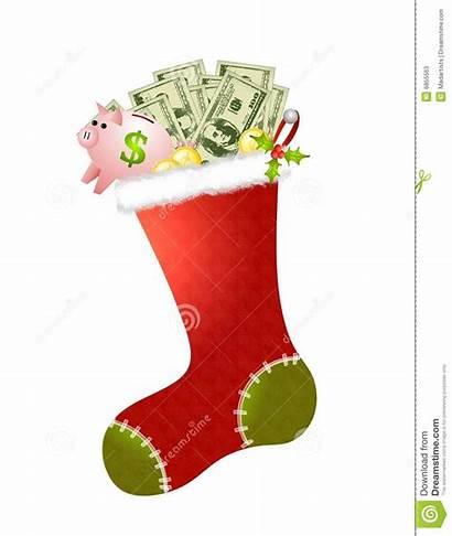 Stocking Cash Christmas Money Clipart Clip Stockings