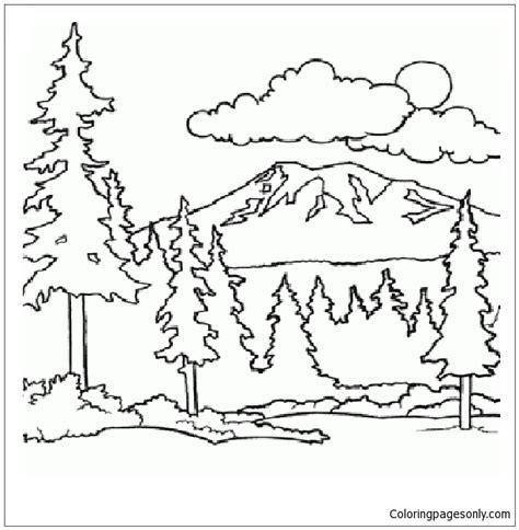 mountain  woods coloring page  coloring pages