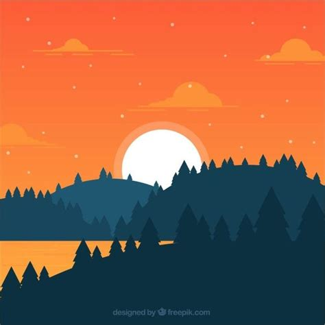flat landscape  forest  sunset  vector