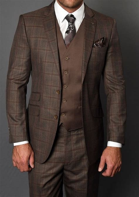 Statement Men's Coco Brown Square Pattern Fitted 3 Piece ...