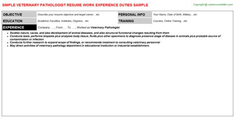 Veterinary Pathologist Resume by Forensic Pathologist Resumes