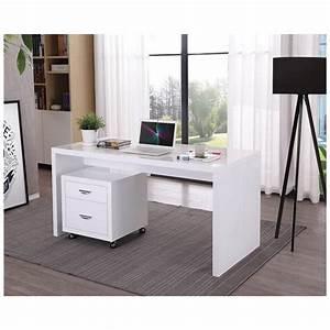 Bureau Bois Blanc : bureau droit design navigo en bois blanc laqu ~ Teatrodelosmanantiales.com Idées de Décoration