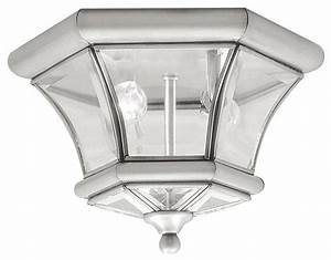 Brushed nickel outdoor flush mount contemporary