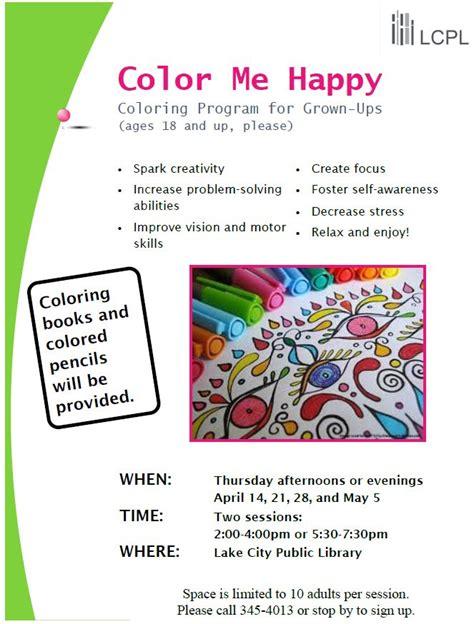 color me happy adult coloring program lake city public