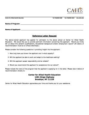 printable recommendation letter  student