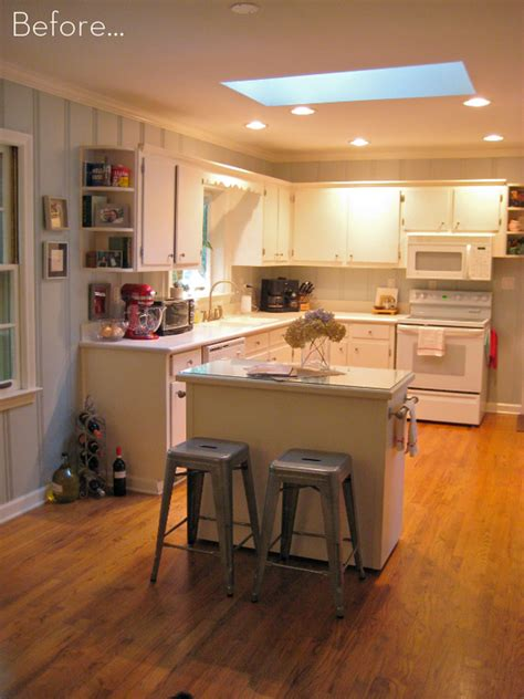 how to a small kitchen island before after a diy kitchen island makeover curbly