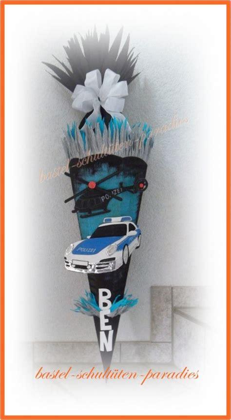 schultueten bastelset polizeiauto mit hubschrauber schwarz