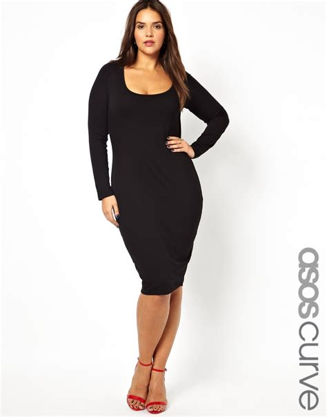 Asos Curve Midi Bodycon Dress With Long Sleeve In Black Lyst