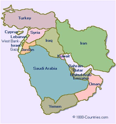 Middle East Map Countries Free maps for personal