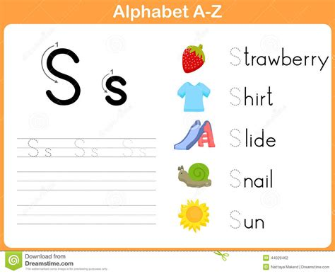 alphabet tracing worksheet stock vector image