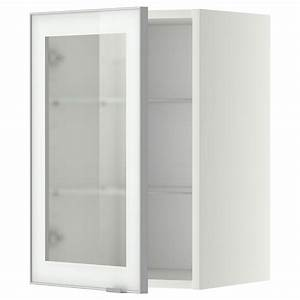 METOD Wall cabinet w shelves/glass door White/jutis