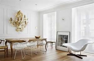 peinture salle a manger 77 idees charmantes With salle À manger contemporaineavec chaise blanche de salle a manger