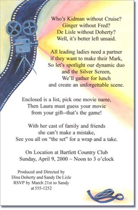 academy awards invitation movies film strip party