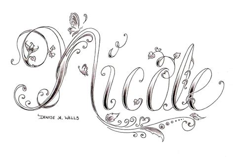 design name ideas nicole tattoo design by denise a wells another custom tat flickr